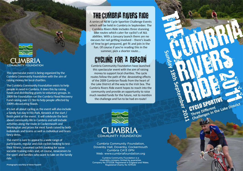 Promotional material for the Cumbria Rivers Ride event, due to take place on September 18th 2011, featuring four of my imagesCommissioned by the Cumbria Community Foundation