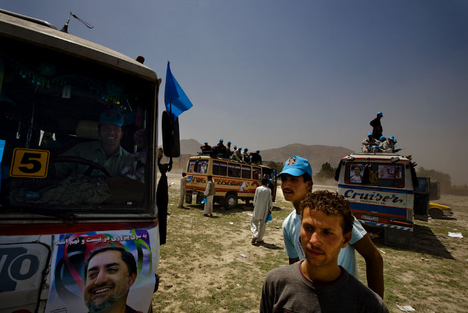 Following a rally for presidential candidate Abdullah Abdullah.