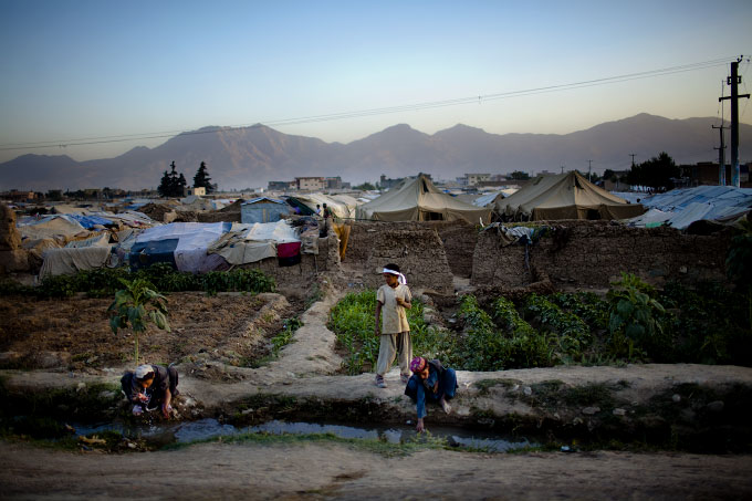 An IDP camp, called Charhi Qhambar, on the edge of Kabul. Most of the IDP's here are from Kandahar and Helmand provinces. Most families had lost at least one family member from American bombs.