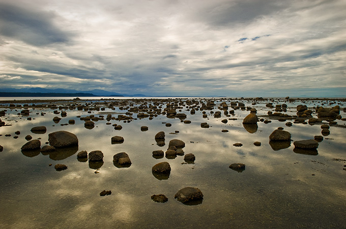 Lowtide.Stepping stones to the distant horizon.Many fossils have been foundin this prehistoric looking place.