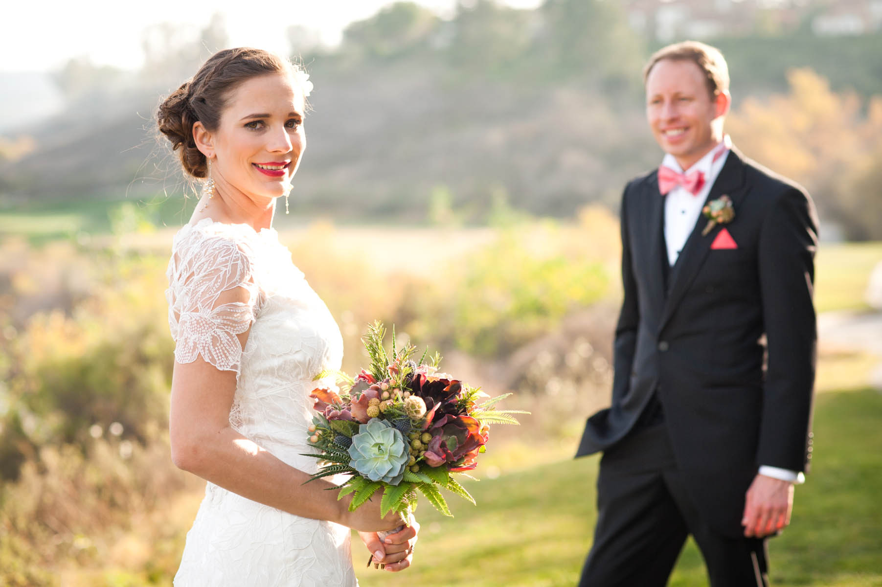 Beautiful light, beautiful bride at Strawberry Farms in Irvine!