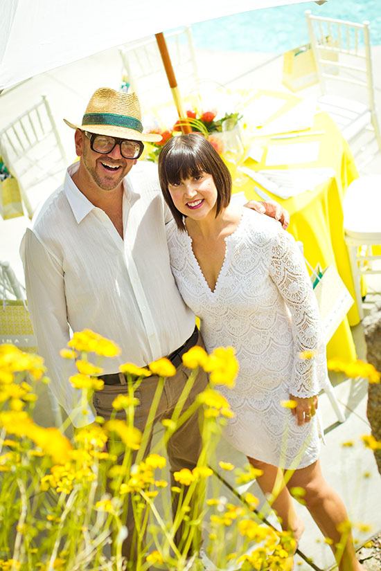 Trina Turk & hubby at their Palm Springs home