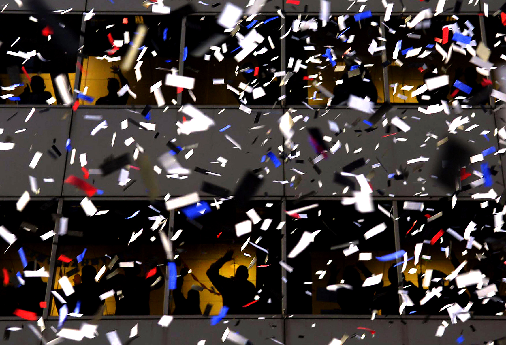 Confetti during a ticker-tape parade in downtown Chicago.