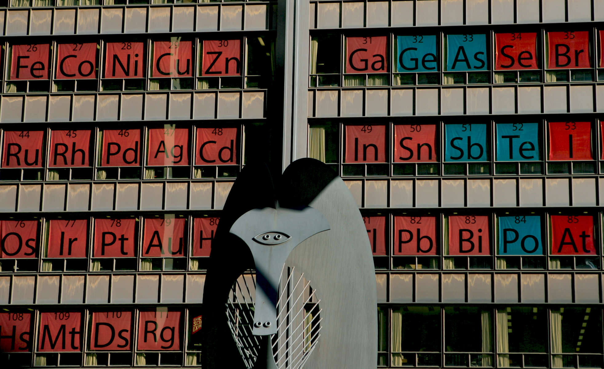 The world's largest periodic table at the Daley Plaza to promote science education.
