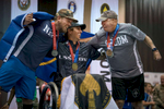 (L-R) Nate Hamilton of the Navy, Ramesh Haytasingh of SOCOM and Israel Del Toro, Jr. of SOCOM react after receiving their medals after competing in an air rifle shooting event at the Department of Defense Warrior Games. Haytasingh, who won the gold medal, said the Warrior Games and other competitors have been an inspiration for him, {quote}Through these programs and getting out with other brothers and sisters, and getting out in four corners. It's been awesome. Yeah. It's been the most therapeutic thing for me.{quote} (Alex Garcia for ESPN)
