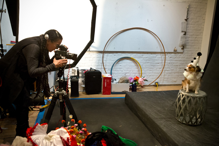 Mary Ellen Mark photographs one of her subjects, dressed for this year's circus theme, during the 2013 party last week.