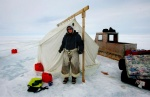 the tent I stayed in with the reporter and a guide while working in the high arctic circle and the clothing they made me wear to stay alive.
