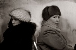 Moscow winter morning commuters looking through steamed bus windows