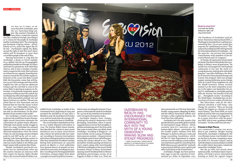 TIME(International Edition)Ready for prime time? Azeri pop star Sabina Babayeva, right, will sing at Eurovision. {quote}Selling Azerbaijan,{quote} p. 28-29.May 14, 2012.