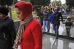 SHUVALAN, AZERBAIJAN.  Visitors exit the holy sanctuary of Mir Movsum Agha during the first day of Eid, the festival of sacrifice, on November 6, 2011.