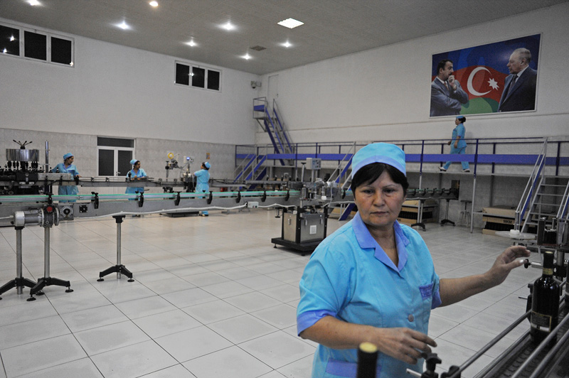 GANJA, AZERBAIJAN.  Female factory workers work on an assembly line of a bottling assembly line at a vineyard on October 17, 2011.  The tour of the plant was well orchestrated during a visit on the occasion of the World Youth Festival which brought young people from around the world to Azerbaijan as part of a week-long tour co-sponsored by the pro-government youth organization Ireli, translation {quote}Forward,{quote} to showcase Azerbaijan and extol the virtues of the country and the culture to foreigners.