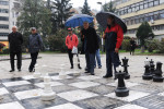 SARAJEVO, BOSNIA AND HERZEGOVINA.  Meho Zekic, 72, and {quote}the butcher{quote} play chess with oversized pieces at a park on October 23, 2014.