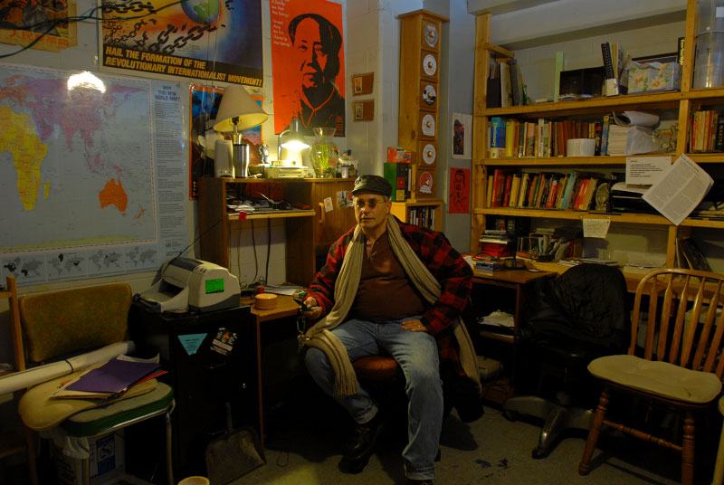 CHICAGO, ILLINOIS.  Grant Newburger, 50, a supporter of Bob Avakian's Revolutionary Communist Party, in his apartment at 1230 N. Burling, a Cabrini Green high rise, on the corner of North Halsted and Division Streets on Chicago's Near North Side, December 18, 2007.  Newburger has lived and worked as a community organizer at the once notorious and now partially demolished Cabrini Green since 1996, fighting the Chicago Housing Authority's {quote}Plan for Transformation.{quote}