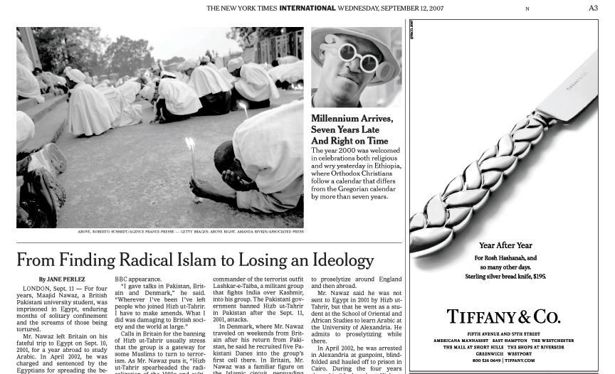 THE NEW YORK TIMES (USA)The year 2000 was welcomed in celebrations both religious and wry (top right) in Ethiopia, where Orthodox Christians follow a calendar that differs from the Gregorian calendar by more than seven years.  (Credit: Amanda Rivkin/Associated Press){quote}Millennium Arrives Seven Years Late and Right on Time,{quote} p. A3September 12, 2007.