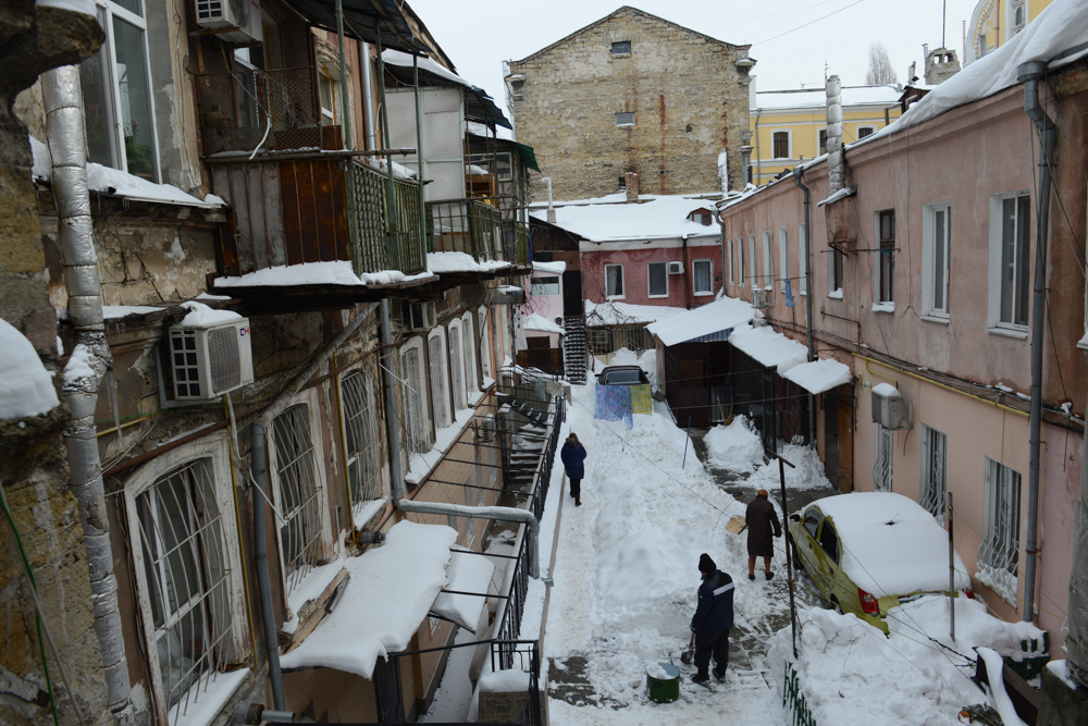 ODESSA, UKRAINE.  A snowy interior courtyard characteristic of many homes on January 27, 2016.