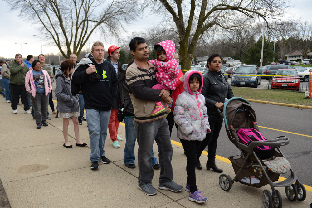 WEST ALLIS, WISCONSIN. The line to be checked by security before entering Donald Trump's campaign event at the Nathan Hale High School on April 3, 2016.