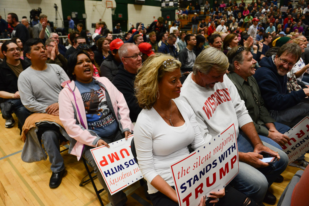 WEST ALLIS, WISCONSIN.  The floor of the gymnasium before Donald Trump's campaign event at the Nathan Hale High School on April 3, 2016.