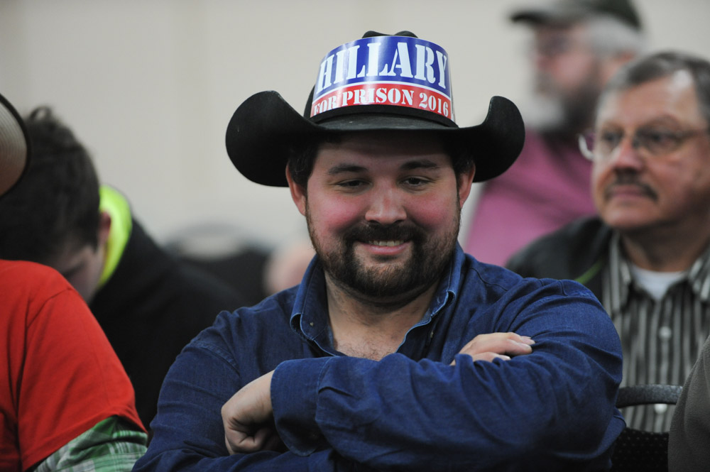ROTHSCHILD, WISCONSIN.  A supporter of Donald Trump at his campaign event at the Central Wisconsin Convention and Expo Center on April 2, 2016.