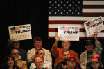 APPLETON, WISCONSIN.  Supporters of Republican presidential frontrunner Donald Trump surround him on all sides during a town hall at the Radisson Paper Valley Hotel on March 30, 2016.  After introducing the topic of Syrian refugees and ISIS, Trump read an incendiary poem about a snake that attacks a woman that tried to give it refuge in a clear parable of his views on providing sanctuary to those individuals fleeing the Syrian civil war.