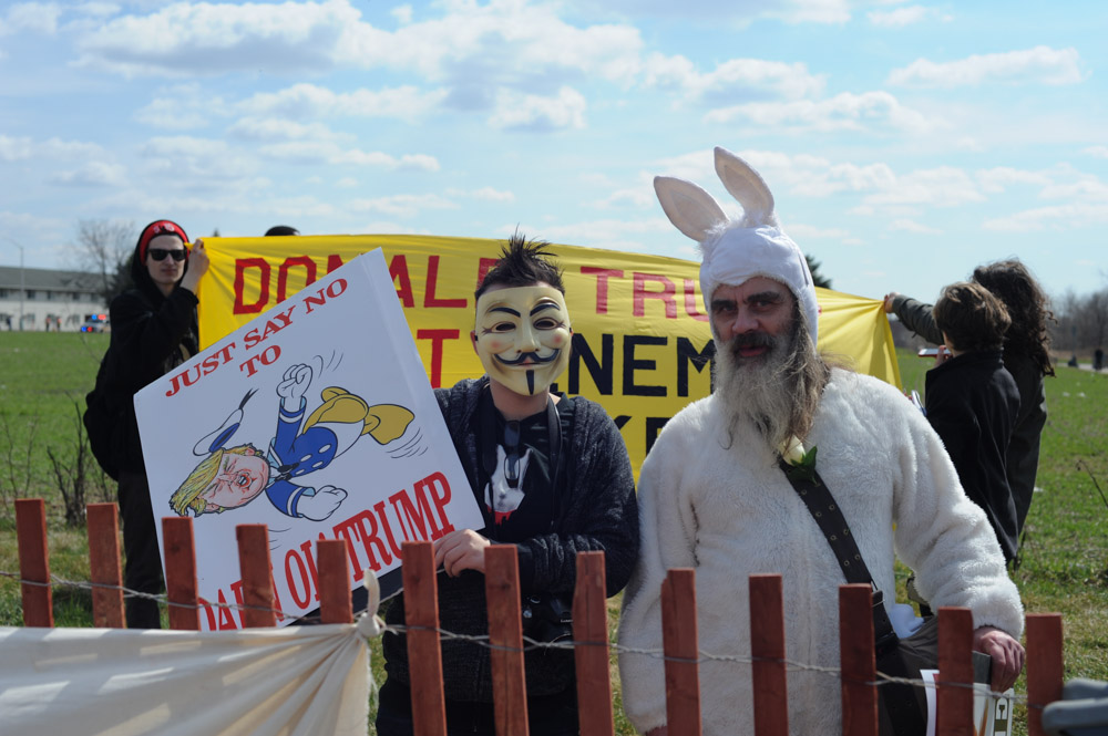 JANESVILLE, WISCONSIN.  Protesters outside a town hall featuring Republican presidential frontrunner Donald Trump at the Holiday Inn Express on March 29, 2016.