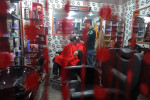 DIYARBAKIR, TURKEY.  A young man receives a haircut in a hair salon in the old city on February 22, 2012.