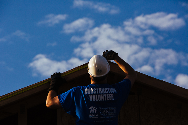Work continues early, Friday, the last build day for the 2014 Jimmy  and Rosalynn Carter Work Project in Fort Worth.