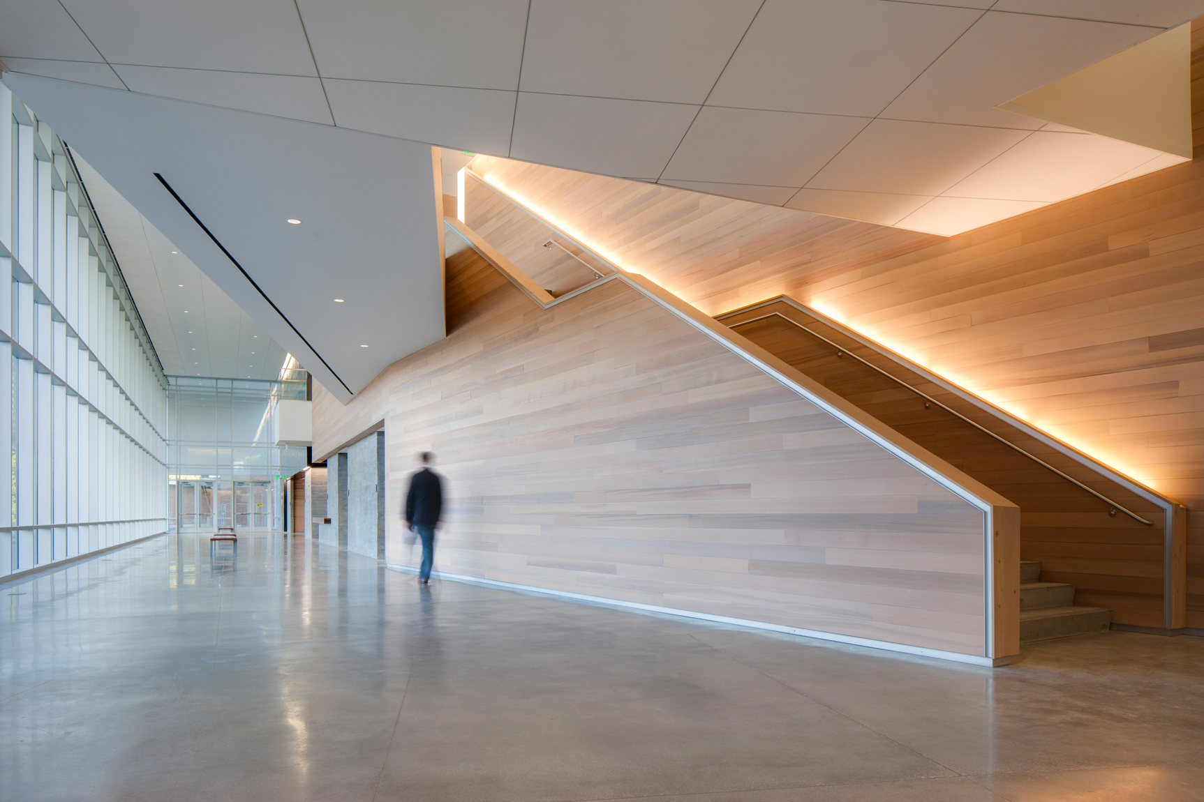 Motion blur of man walking down well lit corridor with large glass windows and sleek wooden stairwellArchitectural Photography by: Paul Richer / RICHER IMAGES