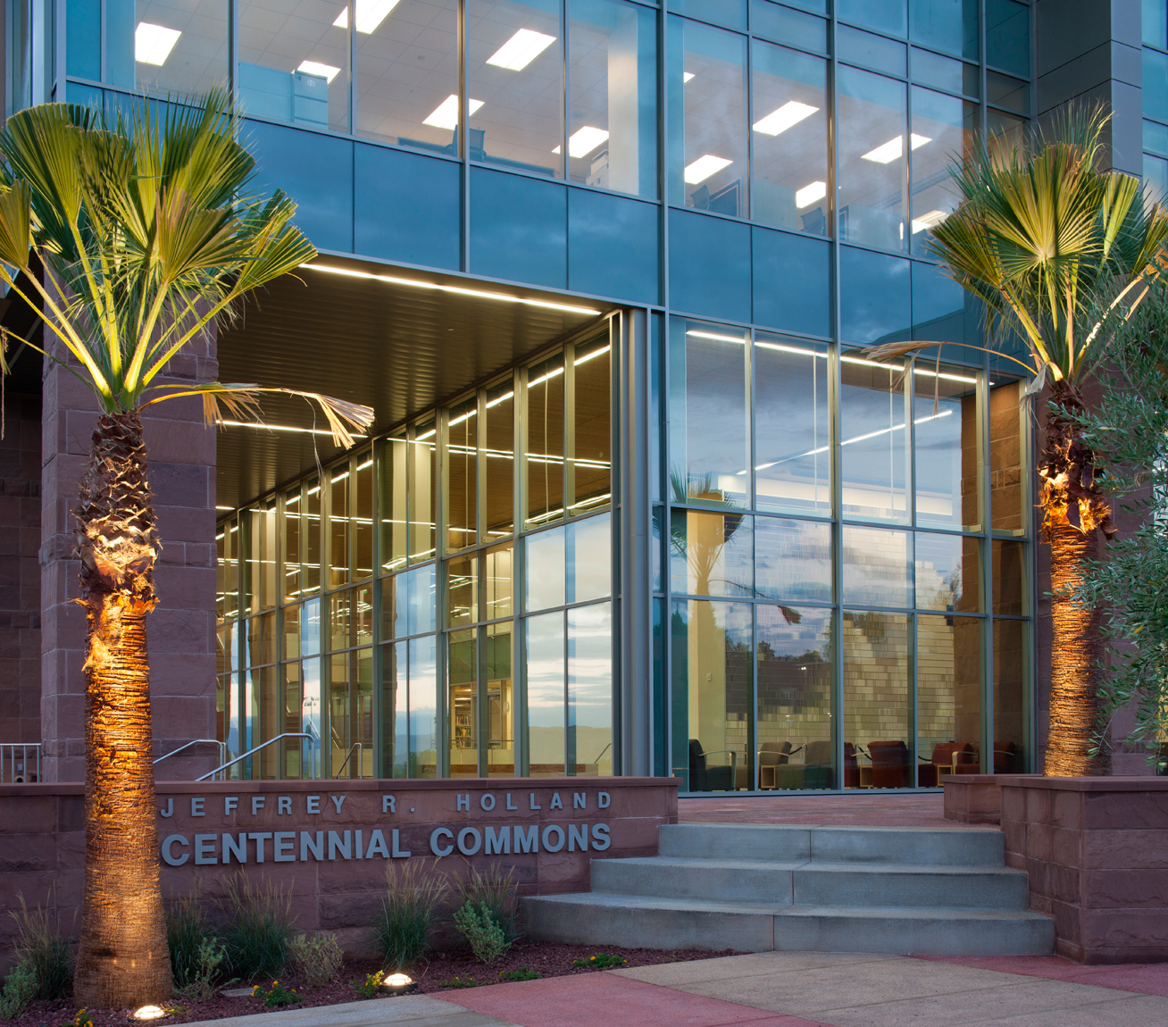 Jeffrey R. Holland Centennial Commons Building at Dixie State College in St. George, UT. for Sasaki & Assoc. and VCBO Architects. Architectural Photography by: Paul Richer / RICHER IMAGES