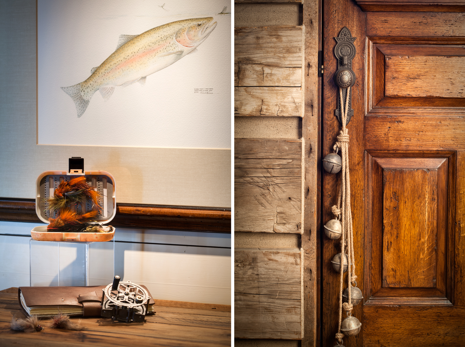 This diptic features two vignettes from a rustic log home made of reclaimed timber eat of Park City, UT. The first photo is a close up of an antique fly fishing reel on top of a wooden bureau with a hand sketched picture of a trout behind. The second is of a string of antique slay bells hanging from a wooden door .