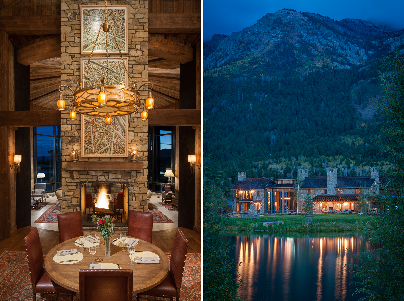 Two views of a  private residence in the Shoting Star Development in JAckson, Wyoming. One view is an interior showing the main dining room table at dusk with warm wood tones and a roaring fire in the fire place and the other is an exterior of the home at dawn taken from across the lake with reflections on the water.Architectural Photography by: Paul Richer / RICHER IMAGES