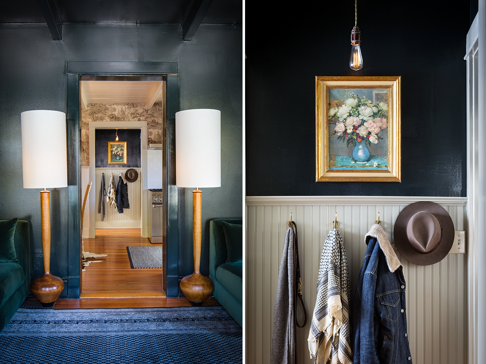 Interior views of a cottage in Park City UT, with wood floors, green walls, retro lighting and bead board panneling.Restored Miners Shack, Park City, UT. for Park City Magazine