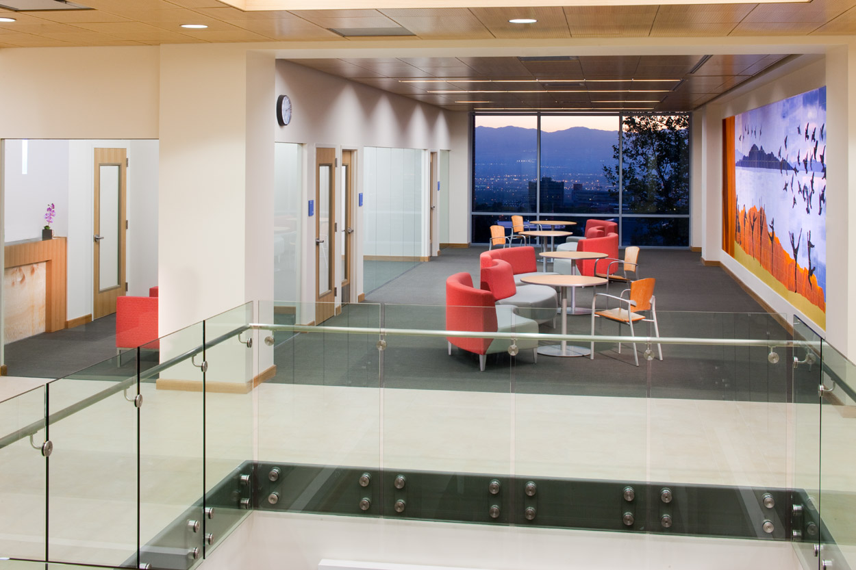Interior and exterior views of the newly renovated College of Nursing at University of Utah