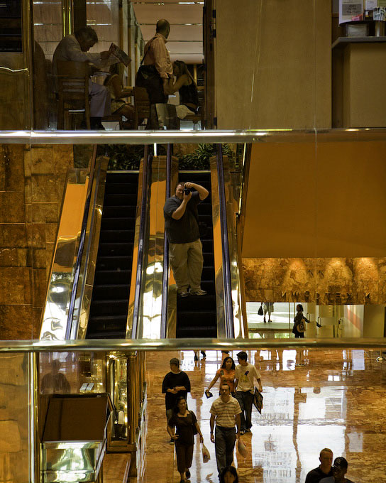 New York CityA self-portrait inside the lobby of Trump Towers, making my way down the escalator.