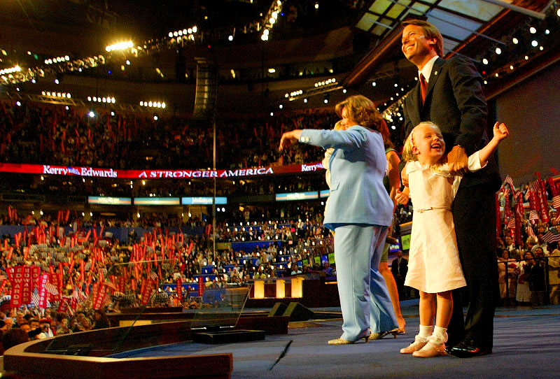 Senator John Edwards and his family including Emma Claire (in Photo) enjoys the crowd after he acceoted his nomination for Vice Preident at the Democratic National Convention in Boston,MA on July 28, 2004. (© Karen Ducey)
