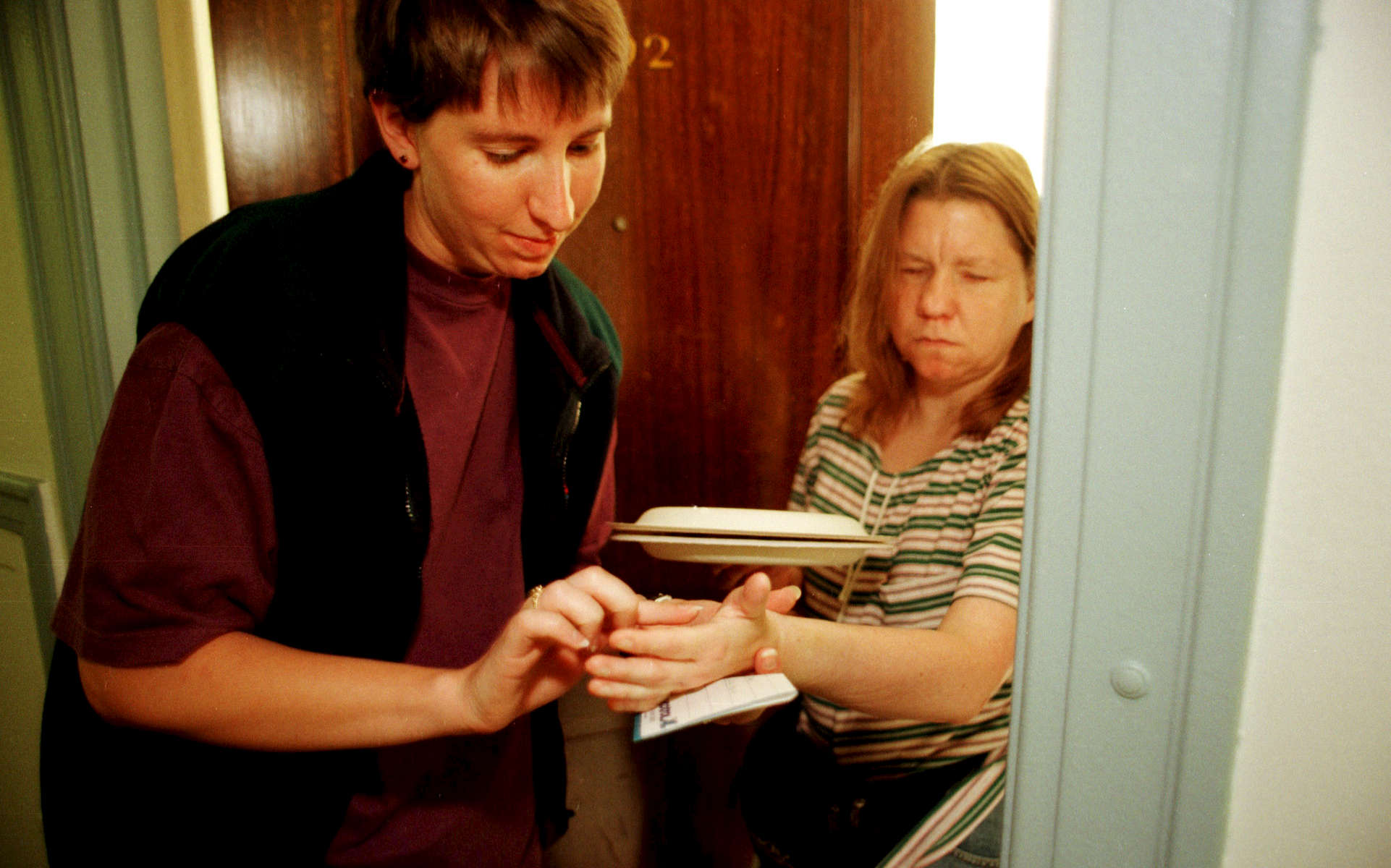 Pam Warren, fully deaf-blind,  recently  moved to Seattle.   Never having lived  independently, Pam became a prisoner in her own apartment.  She receives dinner from a concerned person who communicates by spelling words into her palm.