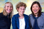 From left to right: Philanthropists Donna Bellew, Judy Pigott, and Jennifer Sik pose for a photo in Seattle.