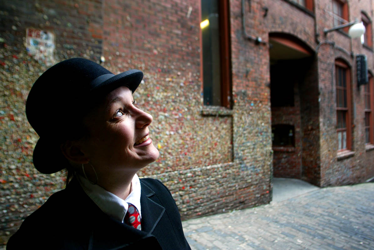 Mercedes Yaeger of Market Ghost Tours says ghosts have been seen in the Market Theater in Post Alley behind her in Seattle, Wash.