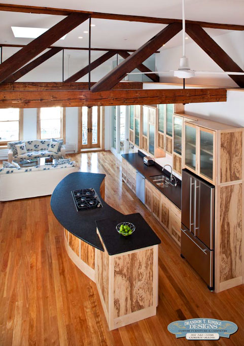 Custom Kitchen Cabinetry seen from Loft