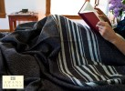 Rare Wool Summer Blanket in Dark Brown with White Stripes