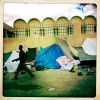 Sudanese refugees camp out at the Libyan/Egyptian border.