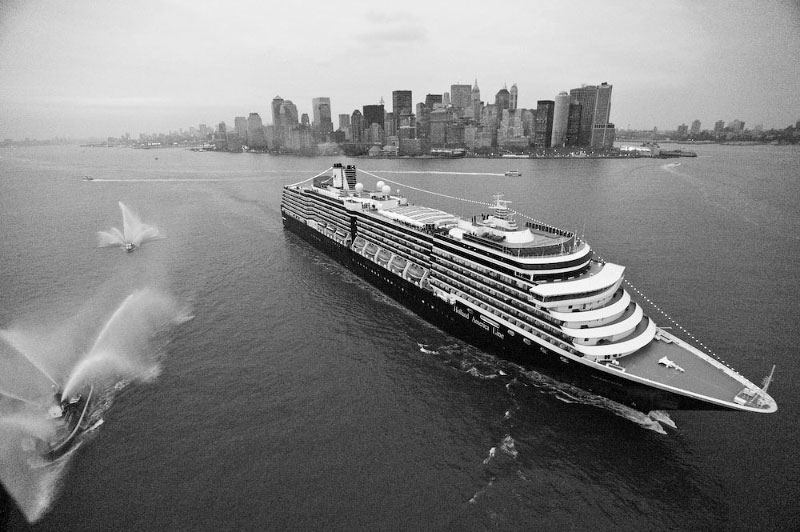 Holland America's ship appears almost yacht like, in the lens of maritime photographer. Atkin.