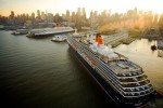 Queen Victoria on maiden voyage to NYC berths adjacent to QE2, at NY Cruise Terminal.  A rare sight.