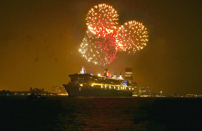 Shot from the Sandy Hook Pilot Boat New Jersey, in the rain, the Queen Mary sails from NY, January 2008.