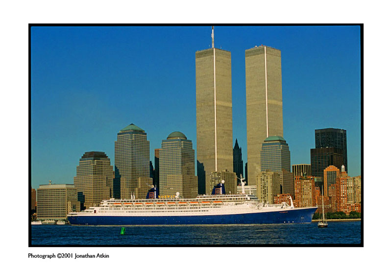 The ss Norway, formerly France, leaves NYC for the last time. Two icons, the WTC towers and the Norway never to be seen again.