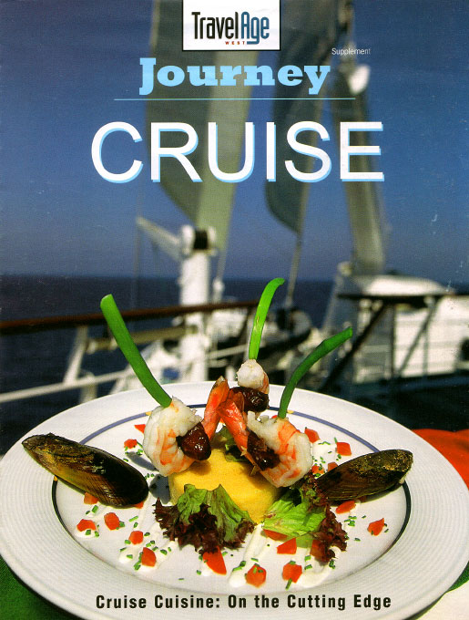 Sailing in the Adriatic, by radio to the bridge, Atkin had the vessel turned in various ways to adjust the light for this cover food photograph.