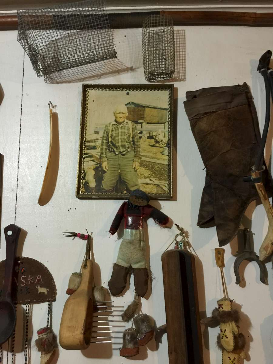 Yupik traditional tools and keepsakes are proudly displayed at the perpetrators home.