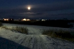 The moon rises early on the Yukon-Kuskokwim delta as we leave the village around 5pm.