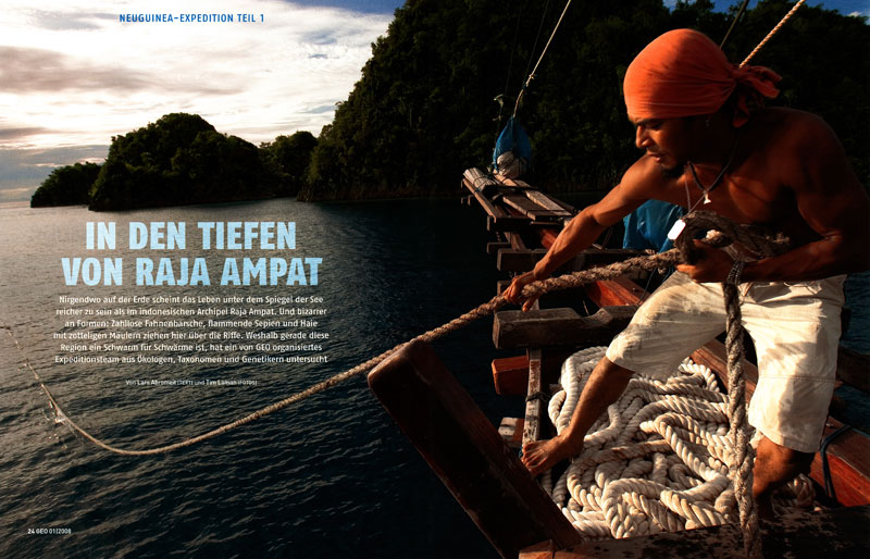 -- This feature story, called {quote}Into the Depths of Raja Ampat{quote} is about the marine biodiversity of the Raja Ampat Islands in Indonesia.  Tim accompanied an expedition of Conservation International scientists to explore this remote region around the Western tip of the big island of New Guinea.-- See photos from this shoot in the RAJA AMPAT REEFS photo gallery.-- See the extensive online feature about this expedition including several slide shows of Tim Laman's images at the German GEO Website.