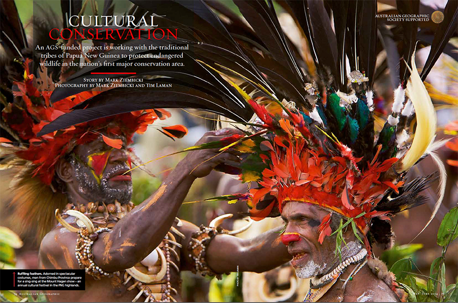 --  Tim's picture is featured as the opening spread on this article about the YUS conservation area's culture and wildlife, including the birds-of-paradise.
