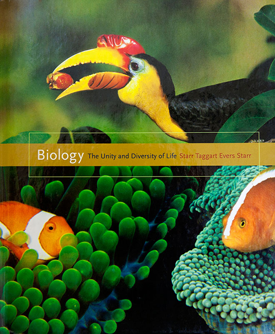 This biology text book by Starr, Taggart, Evers and Starr is adorned with two of Tim's photographs.  The two were chosen because they illustrate mutualism.  The top picture is of a wrinkled hornbill eaing a strangler fig.  The lower image is of two species of sea anemone with two different anemone fish.This book can be purchased at Amazon.com.